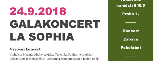 POZVÁNKA – Galakoncert La Sophia 2018